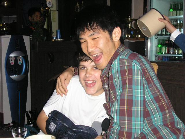 Stephen Michael White with a friend from English Drama Club Hoseo University 2005